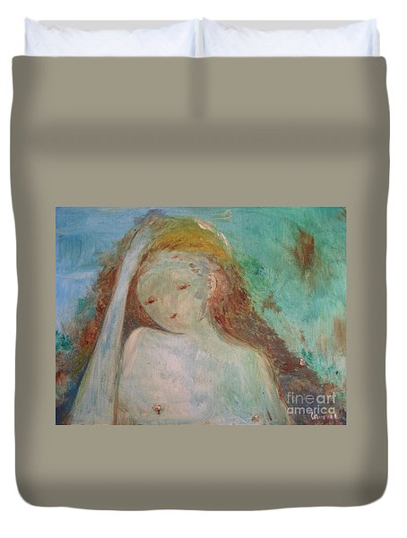 Duvet Cover featuring the painting Woman Of Sorrows by Laurie Lundquist