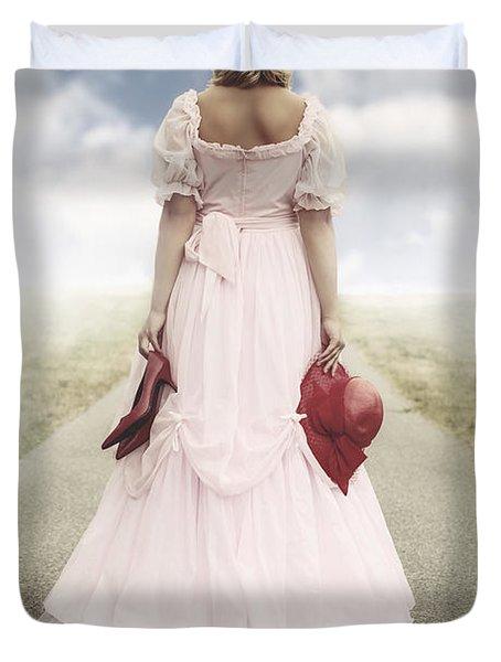 Woman On A Street Duvet Cover by Joana Kruse