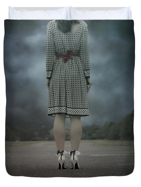 Woman On Street Duvet Cover by Joana Kruse