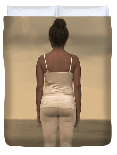 Woman On The Beach Duvet Cover by Joana Kruse