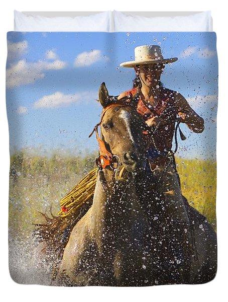 Woman Riding A Horse Duvet Cover by Richard Wear