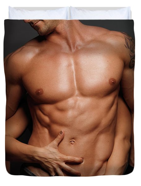 Woman Touching Muscular Man's Body Duvet Cover by Oleksiy Maksymenko