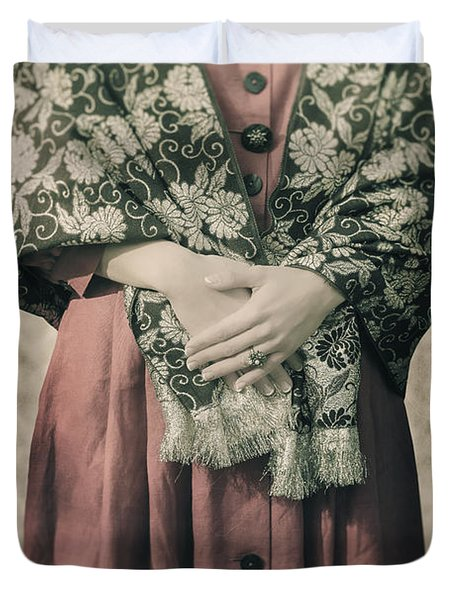 Woman With Shawl Duvet Cover by Joana Kruse