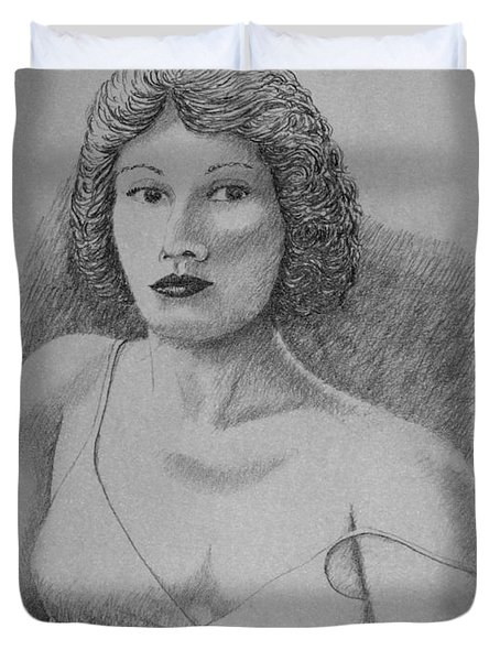 Duvet Cover featuring the drawing Woman With Strap Off Shoulder by Daniel Reed