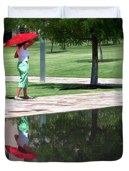 Woman With The Red Umbrella Duvet Cover by Tamyra Ayles