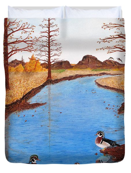 Wood Ducks On Jacobs' Creek Duvet Cover