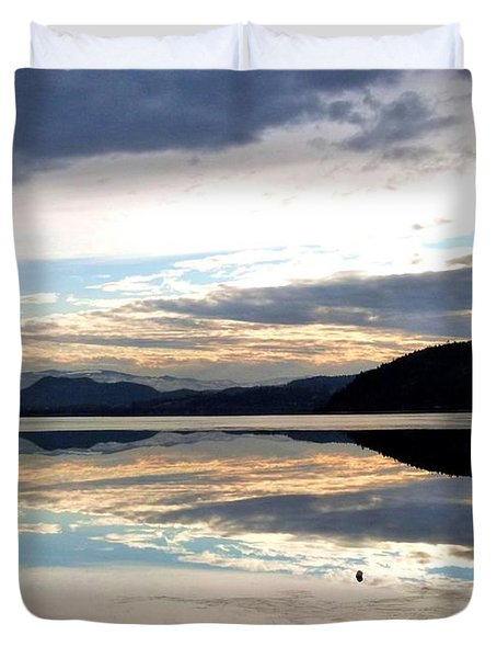 Wood Lake Mirror Image Duvet Cover by Will Borden
