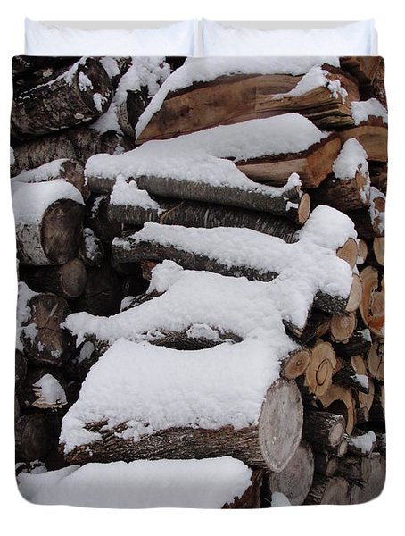 Duvet Cover featuring the photograph Wood Pile by Tiffany Erdman