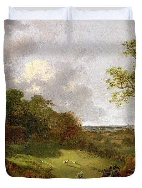 Wooded Landscape With A Cottage - Sheep And A Reclining Shepherd Duvet Cover by Thomas Gainsborough
