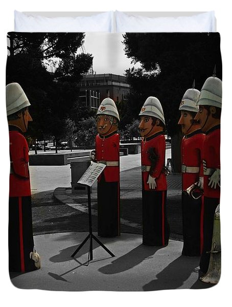 Duvet Cover featuring the photograph Wooden Bandsmen by Blair Stuart