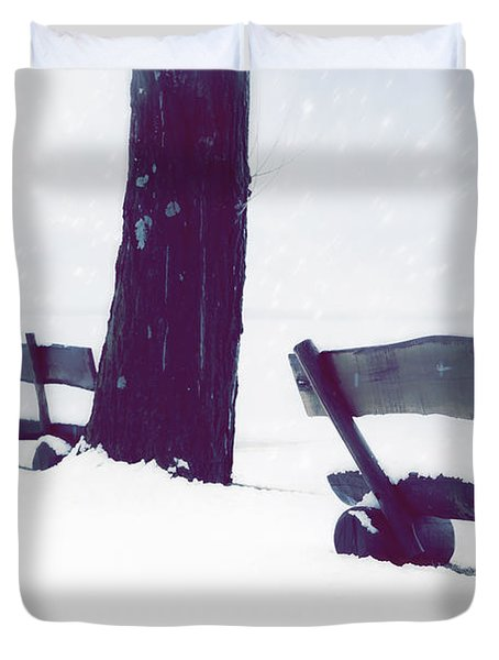 Wooden Benches In Snow Duvet Cover by Joana Kruse