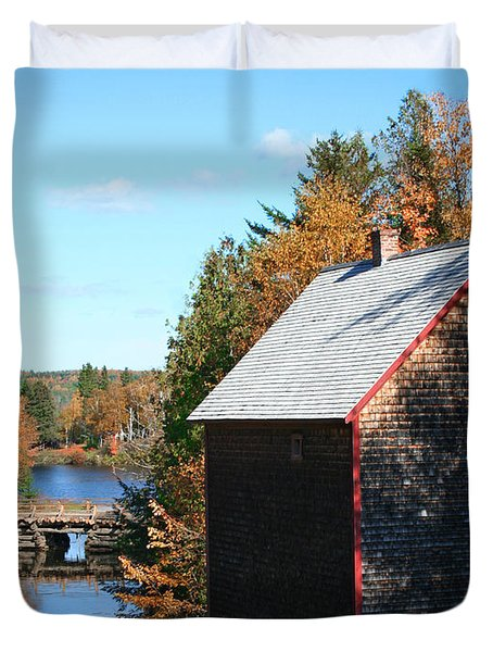 Duvet Cover featuring the photograph Working Gristmill by Barbara McMahon