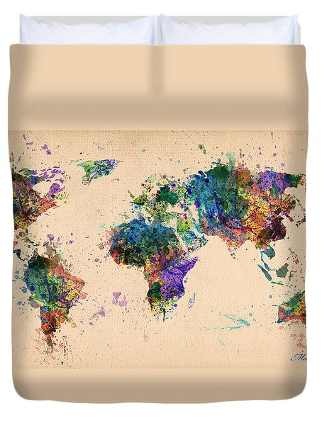 World Map 2 Duvet Cover by Mark Ashkenazi