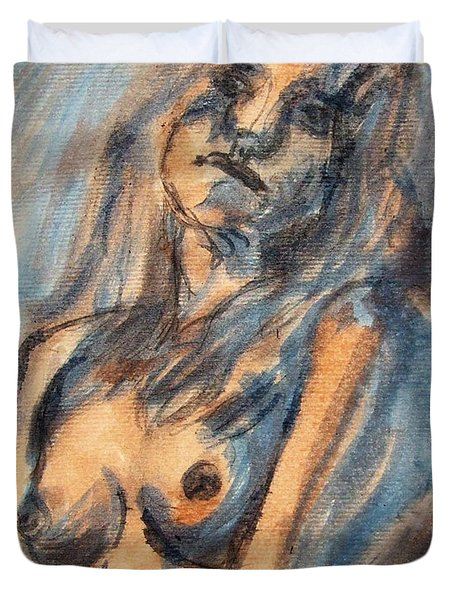 Duvet Cover featuring the painting Worried Young Nude Female Teen Leaning And Filled With Angst In Orange And Blue Watercolor Acrylics by M Zimmerman