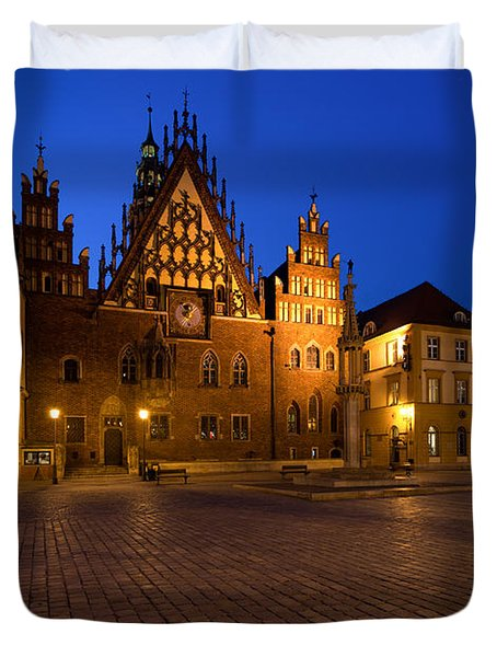 Wroclaw Town Hall At Night Duvet Cover by Sebastian Musial