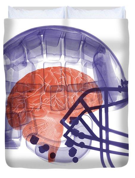 X-ray Of Head In Football Helmet Duvet Cover by Ted Kinsman
