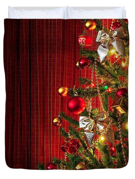 Xmas Tree On Red Duvet Cover by Carlos Caetano