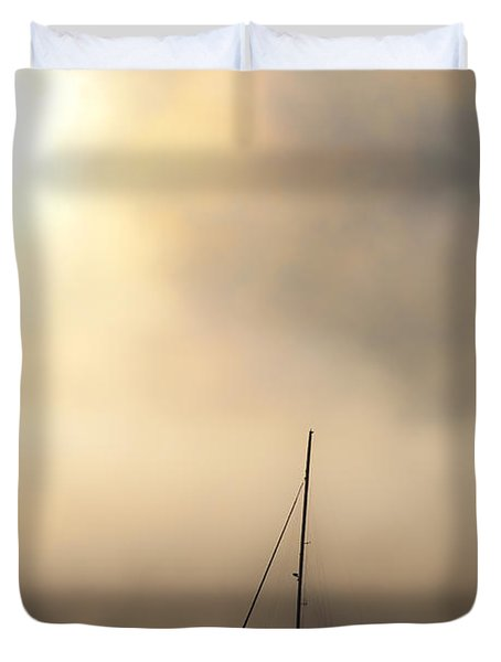 Yacht In Mist Duvet Cover by Avalon Fine Art Photography