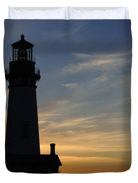 Yaquina Lighthouse Duvet Cover by Bob Christopher
