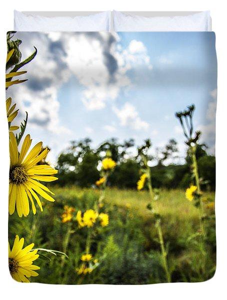 Yellow As The Sun Duvet Cover by CJ Schmit