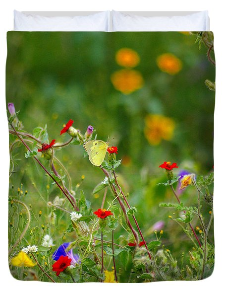 Duvet Cover featuring the photograph Yellow Butterfly In Meadow by John  Kolenberg