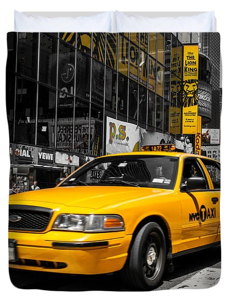 Yellow Cab At The  Times Square Duvet Cover by Hannes Cmarits