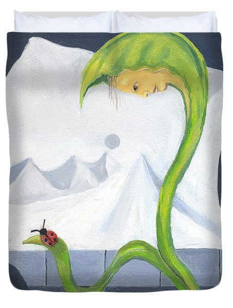 Yellow Corn Baby Looking At A Red Beetle With Black Dots Surreal Imagination White Mountain Sun Sky Duvet Cover by Rachel Hershkovitz