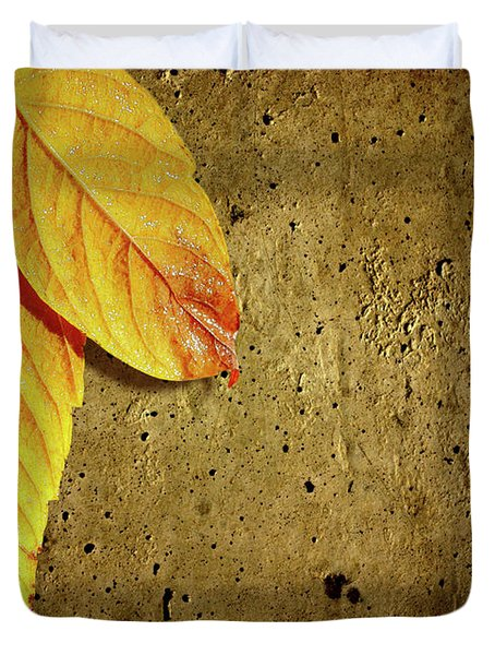 Yellow Fall Leafs Duvet Cover