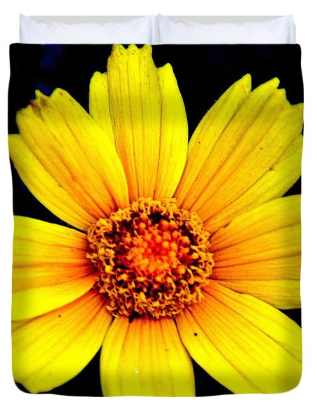 Yellow Flower Duvet Cover by Marty Koch