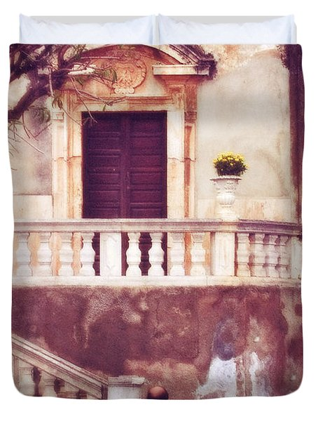 Yellow Flowers In A Vase In Taormina Sicily Duvet Cover by Silvia Ganora