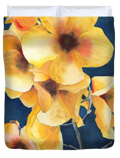 Yellow Flowers Duvet Cover by Ken Powers