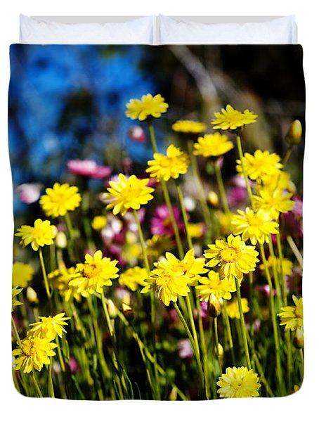 Yellow Flowers Duvet Cover by Yew Kwang