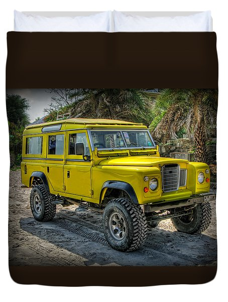 Yellow Jeep Duvet Cover by Adrian Evans