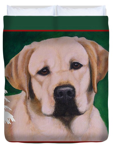 Yellow Labrador Portrait Christmas Duvet Cover