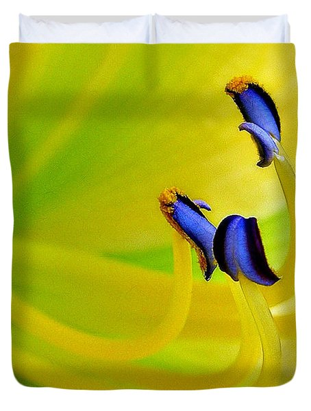 Yellow Lily Duvet Cover by Judi Bagwell