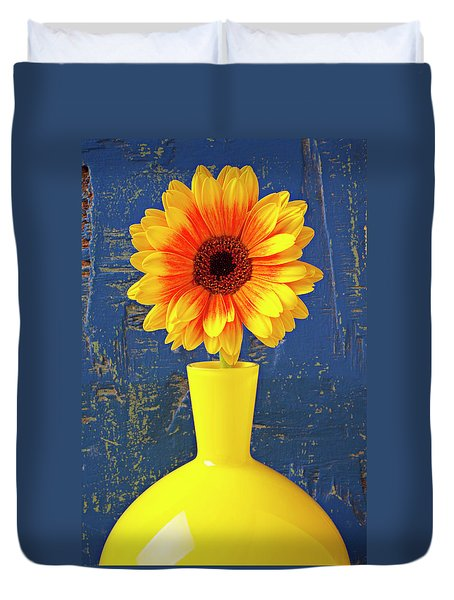 Yellow Mum In Yellow Vase Duvet Cover by Garry Gay