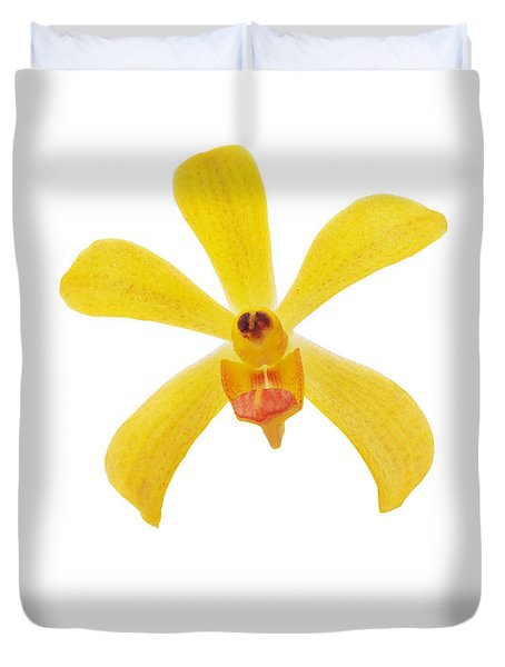 Yellow Orchid Duvet Cover by Atiketta Sangasaeng