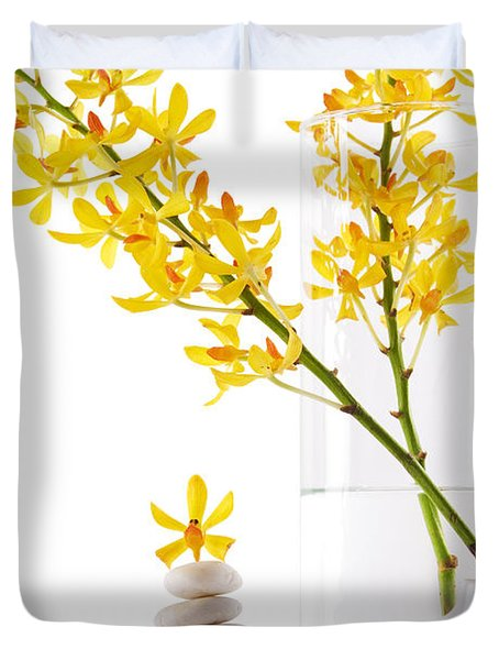 Yellow Orchid Bunchs Duvet Cover