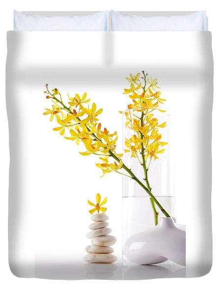 Yellow Orchid Bunchs Duvet Cover by Atiketta Sangasaeng