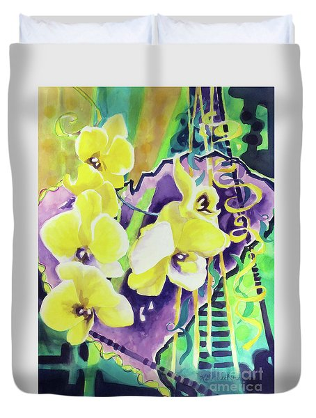 Yellow Orchids Of The Heart Duvet Cover by Kathy Braud