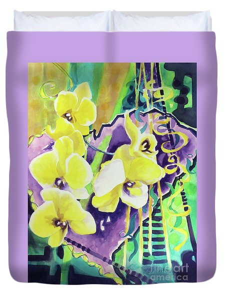 Yellow Orchids Of The Heart Duvet Cover
