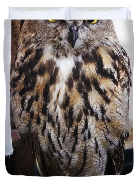 Yellow Owl Eyes Duvet Cover