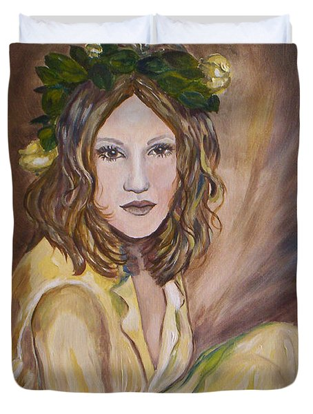 Duvet Cover featuring the painting Yellow Rose by Julie Brugh Riffey