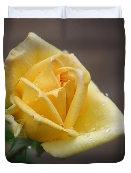 Duvet Cover featuring the photograph Yellow Rose Of Texas by Donna  Smith