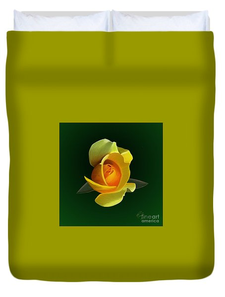 Duvet Cover featuring the painting Yellow Rose by Rand Herron