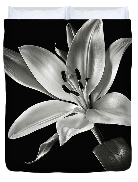 Yellow Tiger Lily In Black And White Duvet Cover