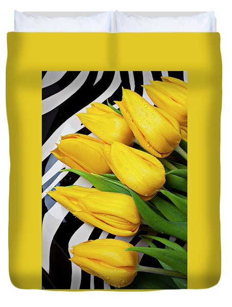 Yellow Tulips On Striped Plate Duvet Cover by Garry Gay