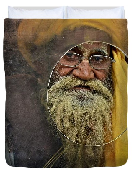 Yellow Turban At The Window Duvet Cover by Valerie Rosen