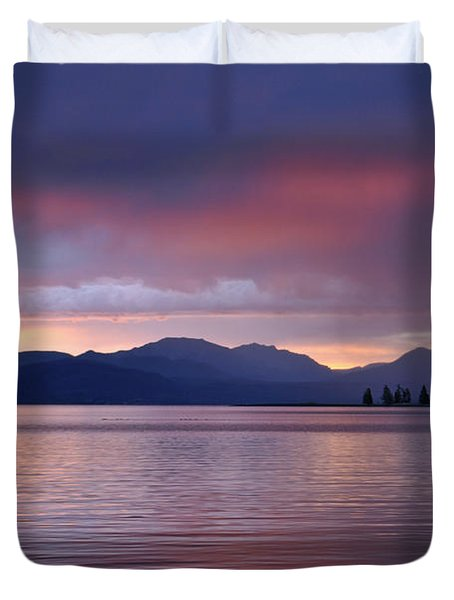 Yellowstone Lake Sunrise IIi Duvet Cover