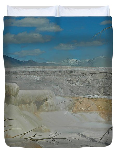 Yellowstone's Canary Springs Duvet Cover by Bruce Gourley